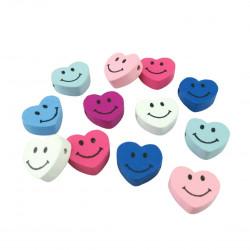 5 Perles en Bois Coeur Smile 17mm x 16mm MC0700040