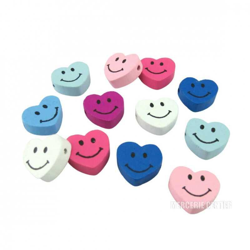 5 Perles en Bois Coeur Smile 17mm x 16mm