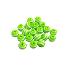 20 Perles en Resine Rayé 8mm Vert et Blanc MC0108267