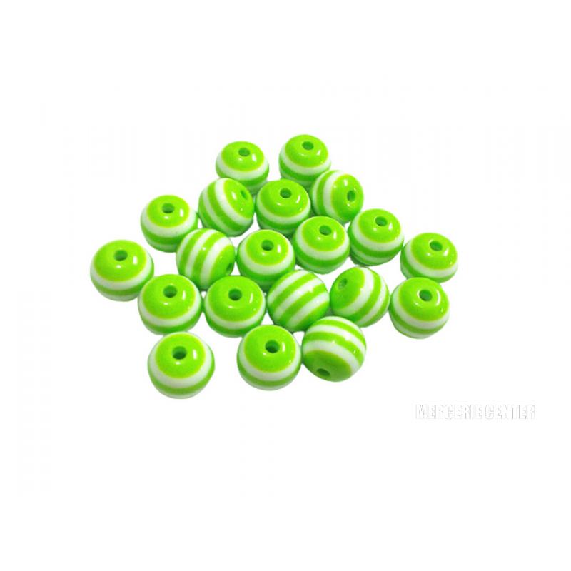 20 Perles en Resine Rayé 8mm Vert et Blanc