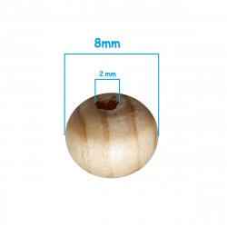 20 Perle en Bois 8mm Strié Marron Rayé MC0108302