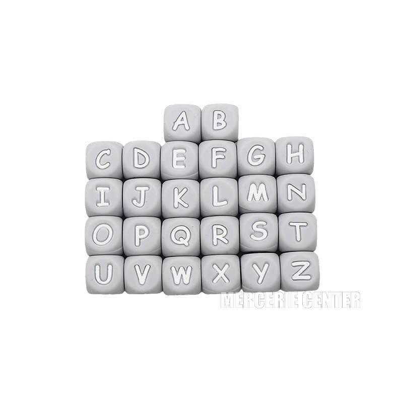 Perles Silicone Lettre Alphabet 12mm Gris