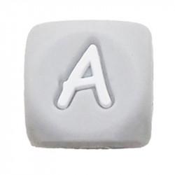 Perles Silicone Lettre Alphabet 12mm Gris MC0112103