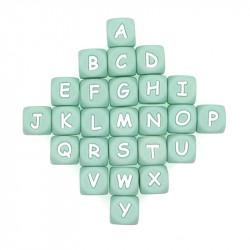 Perles Silicone Lettre Alphabet 12mm Vert Tilleul MC0112104