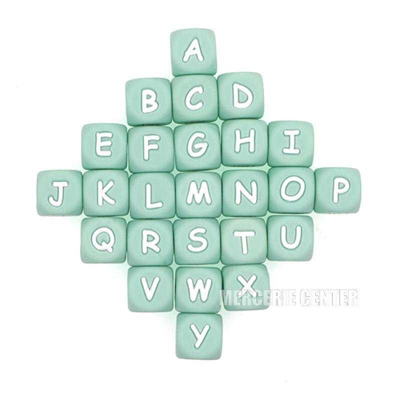 Perles Silicone Lettre Alphabet 12mm Vert Tilleul