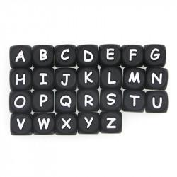 Perles Silicone Lettre Alphabet 12mm Noir MC0112105