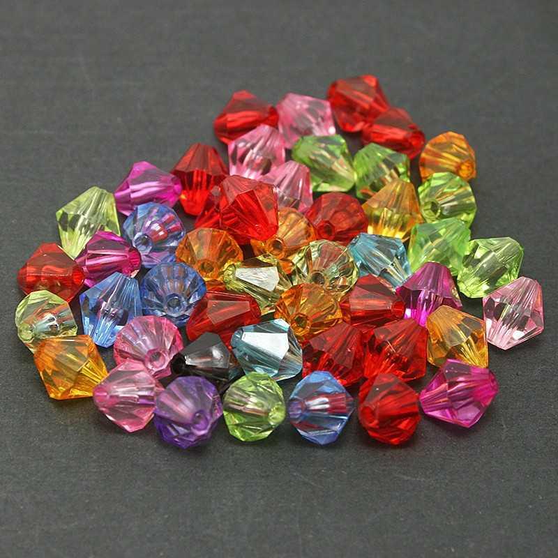 Perles Intercalaires Bicone toupie 4mm Acrylique Mixte