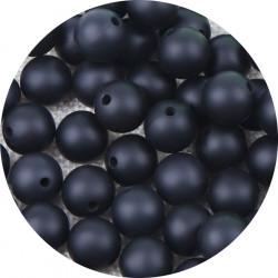 10 Perle Silicone 9mm Couleur Marbre Noir MC1200130X