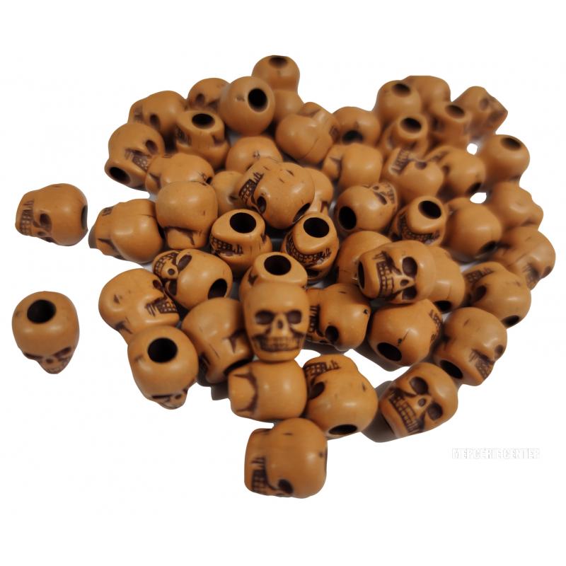 10 Perles Tete de Mort 10mm x 9mm Couleur Citrouille Tete Squelette