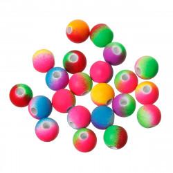 10 Perles en Acrylique 10mm Fluo Mixte Multicouleur Effet Caoutchouc MC0110373