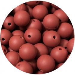 5 Perles Silicone 15mm Couleur Rouge Brique MC1200150BR