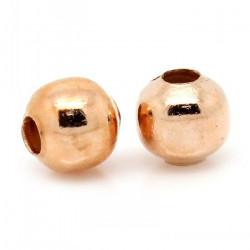 50 Perles en Métal Rose Doré 4mm Brillant