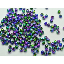 80 Perles en Acrylique Stardust 4mm Arc en Ciel