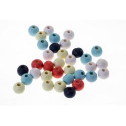 20 perles en bois 8mm couleur mixte