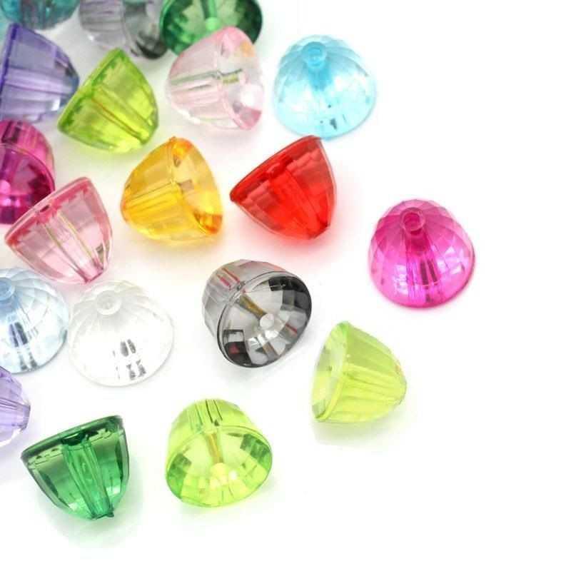 10 Perles Mixte Acrylique Hémisphère Facette 11mm x 8mm
