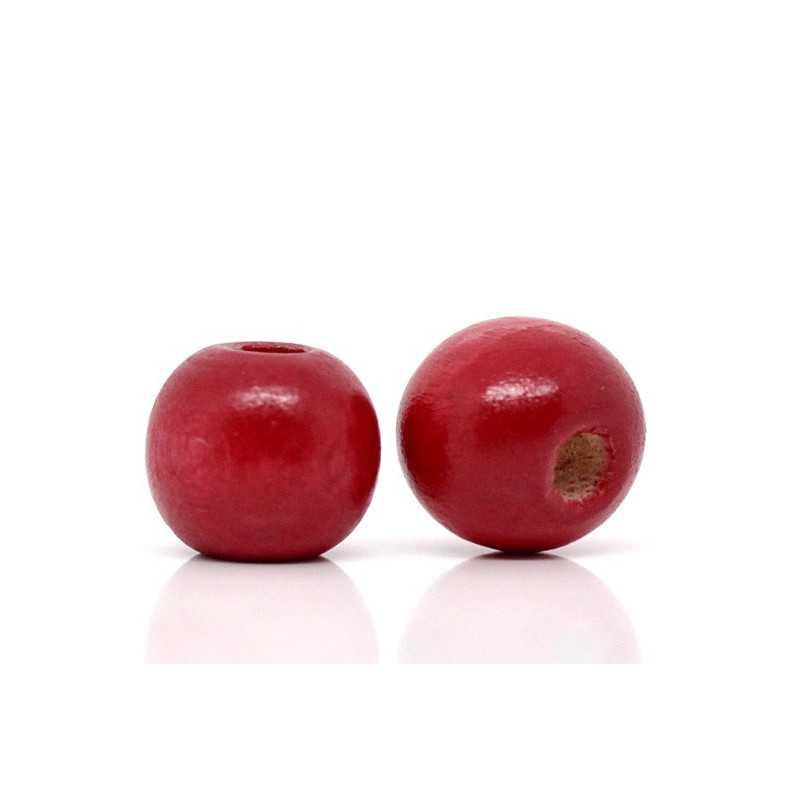 20 Perles en bois Rouge 10mm