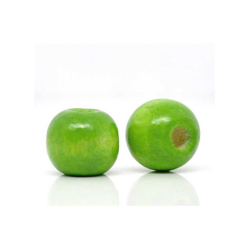 20 Perles en bois Vert 10mm