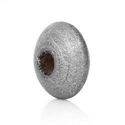 30 Perles Intercalaires Rondelles Argenté en Bois 10mm x 5mm