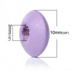 30 Perles Intercalaires Rondelle Violet en Bois 10mm x 5mm