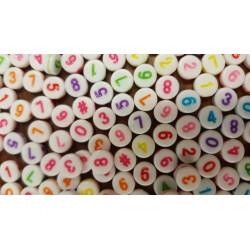 Lot 50 - 100 - 200 Perles Chiffre 7mm Blanc écriture mixte