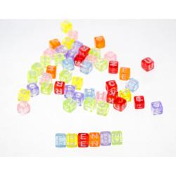 Lot de 50 - 100 - 200 Perles Lettre Alphabet 6mm Transparent Multicouleur Cube