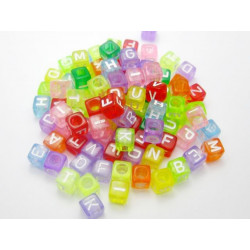 Lot de 50 - 100 - 200 Perles Lettre Alphabet 6mm Transparent Multicouleur Cube